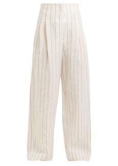 Brunello Cucinelli High-rise pinstriped linen-blend trousers
