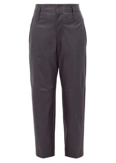 Brunello Cucinelli High-rise tapered leather trousers