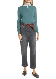 Brunello Cucinelli High Waist Straight Leg Jeans with Leather Belt