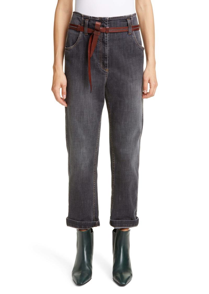 Brunello Cucinelli High Waist Straight Leg Jeans with Leather Belt