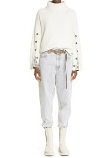 Brunello Cucinelli High Waist Tapered Jeans (Light Grey)
