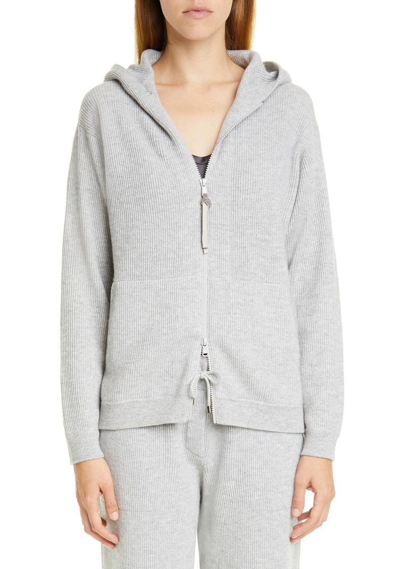 Brunello Cucinelli Hooded Rib Cashmere Sweater