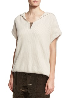 Brunello Cucinelli Hooded Short-Sleeve Pullover Sweater