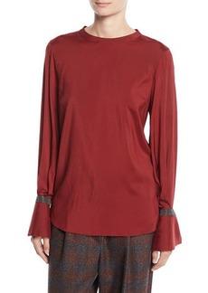Brunello Cucinelli Jewel-Neck Long-Sleeve Monili Flounce-Cuff Silk Blouse