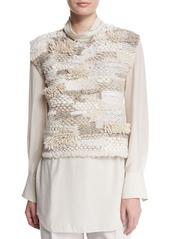 Brunello Cucinelli Jewel-Neck Sleeveless Cropped Sweater