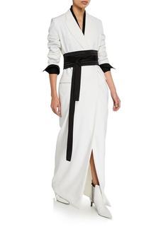 Brunello Cucinelli Kimono-Belted Crepe Coat Gown