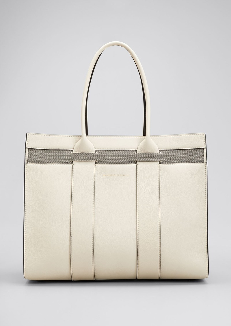 Brunello Cucinelli Large Top Handle Shopper Tote Bag