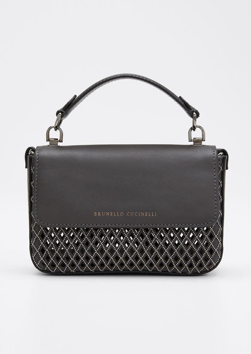 Brunello Cucinelli Laser-Cut Leather Crossbody Bag