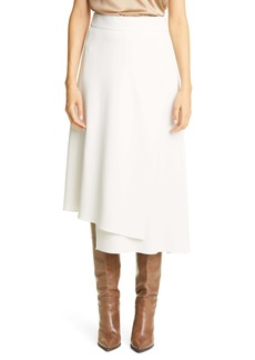 Brunello Cucinelli Layered Crepe Wrap Midi Skirt
