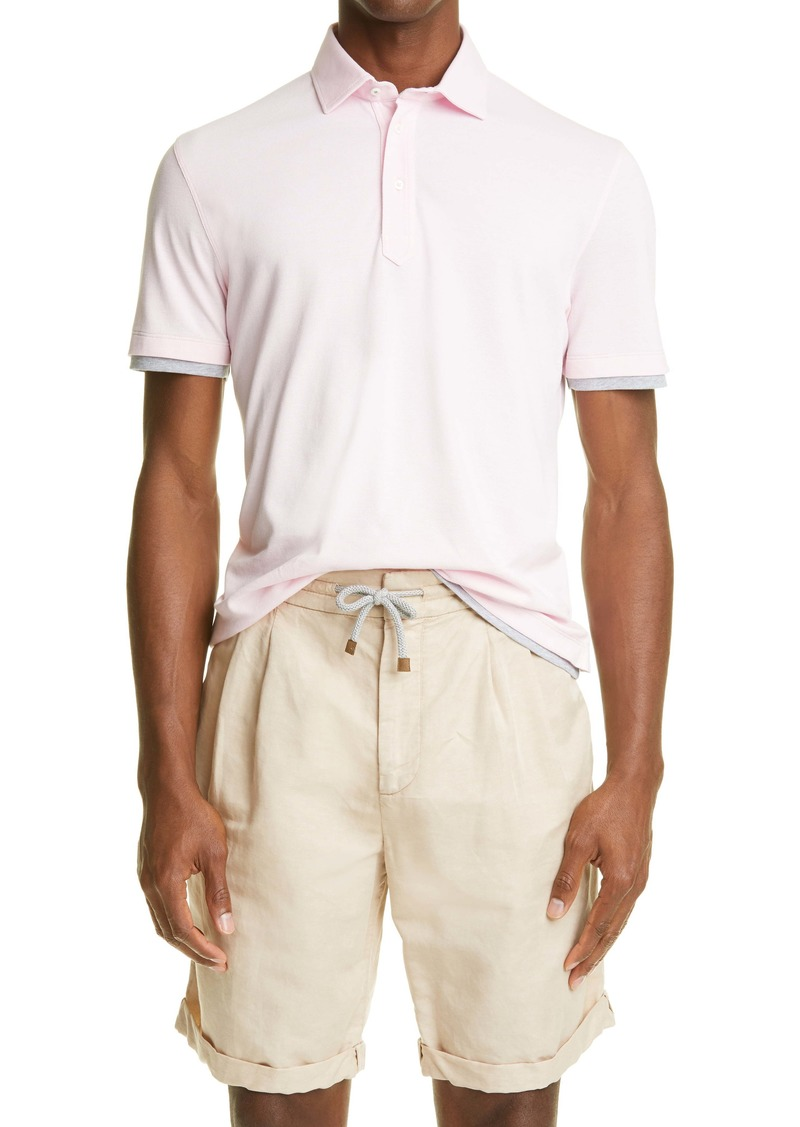 Brunello Cucinelli Layered Short Sleeve Piqué Polo