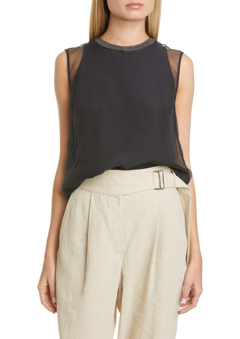 Brunello Cucinelli Layered Silk Tank