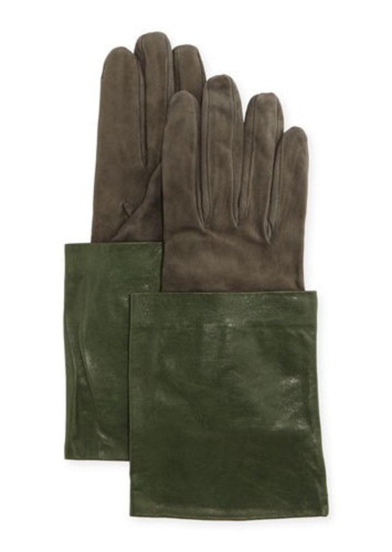 Brunello Cucinelli Leather & Suede Short Gloves