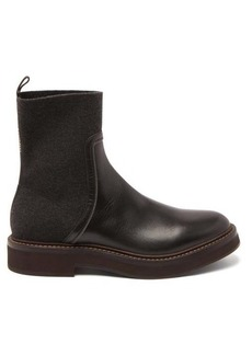Brunello Cucinelli Leather and cashmere Chelsea boots