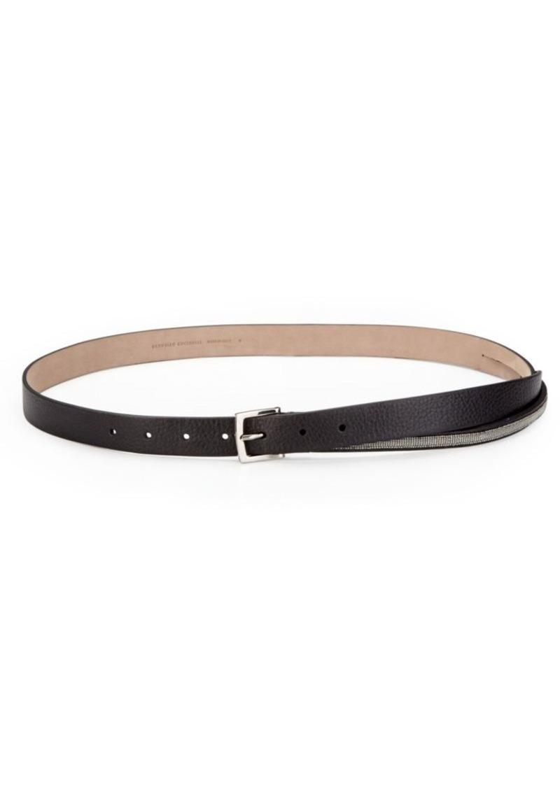 Brunello Cucinelli Leather Ball-Chain Belt