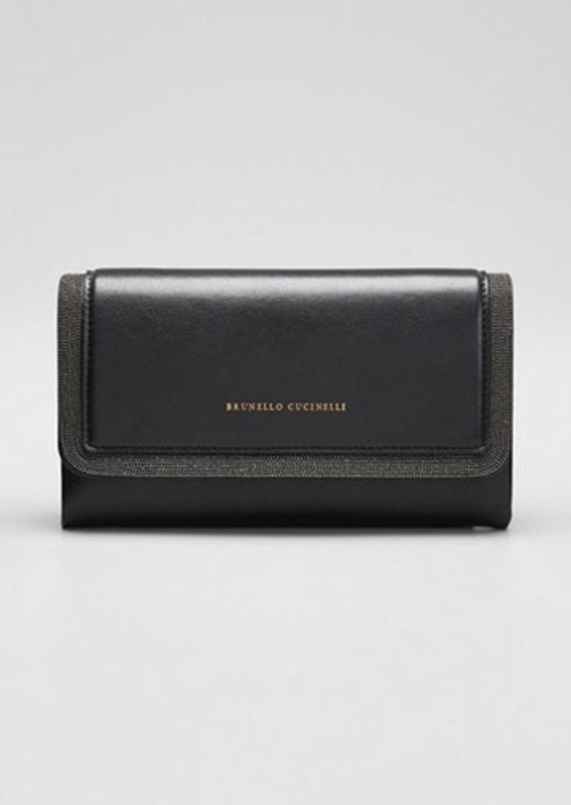 Brunello Cucinelli Leather Flap-Top Belt Bag