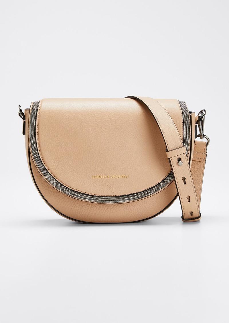 Brunello Cucinelli Leather Flap-Top Shoulder Bag