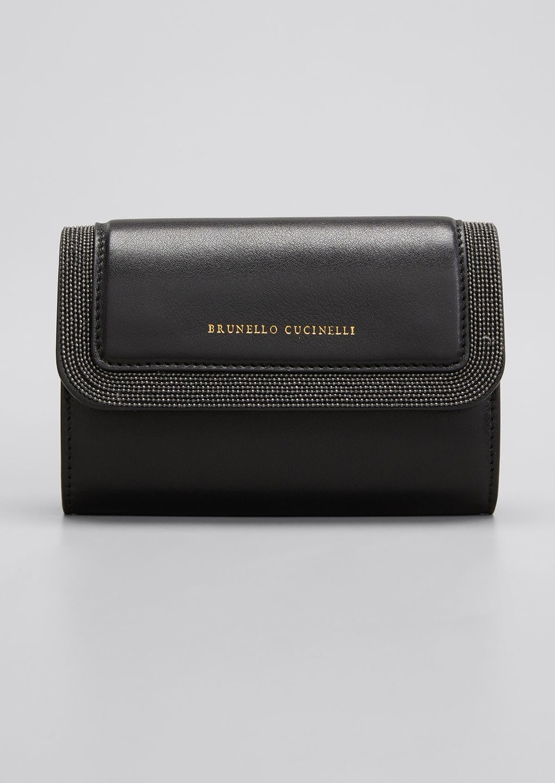 Brunello Cucinelli Leather Monili Flap Top Wallet