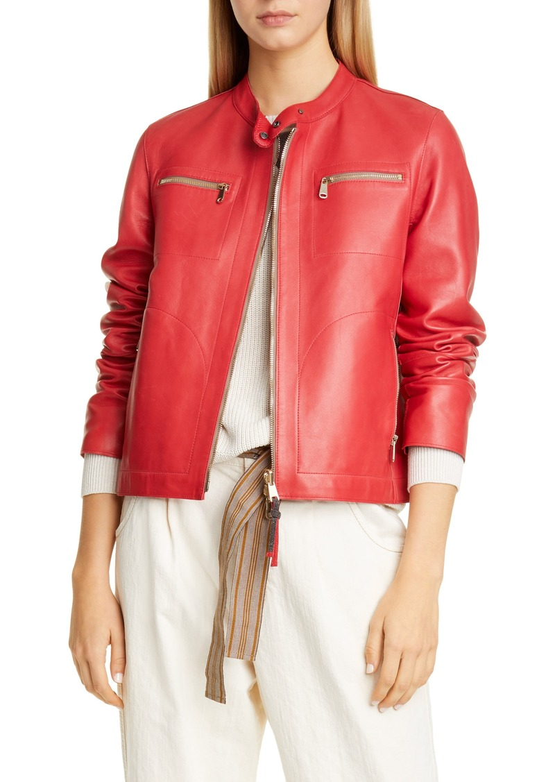 Brunello Cucinelli Leather Racer Jacket
