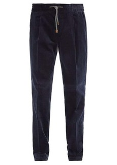 Brunello Cucinelli Leather-trimmed drawcord cotton-corduroy trousers