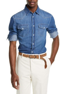 Brunello Cucinelli Leisure Fit Dark Western Shirt