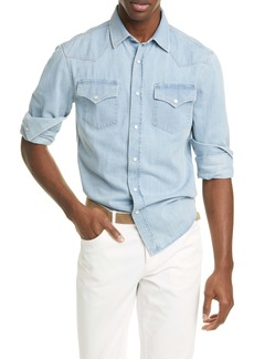 Brunello Cucinelli Leisure Fit Denim Western Shirt
