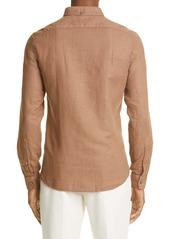 Brunello Cucinelli Leisure Fit Linen & Cotton Button-Down Shirt