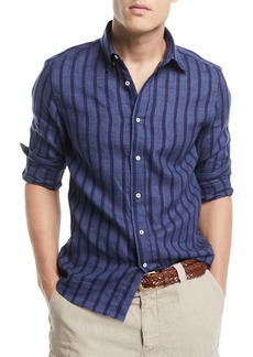 Brunello Cucinelli Leisure-Fit Striped Sport Shirt