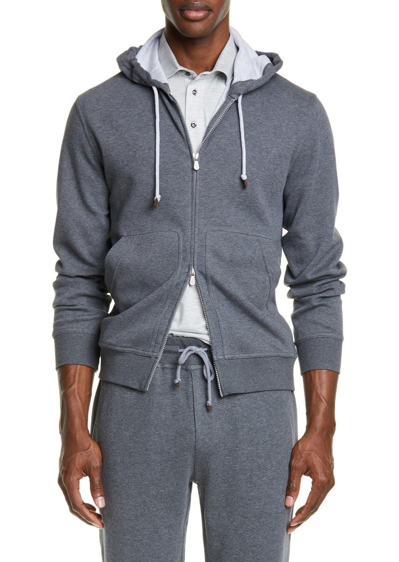 Brunello Cucinelli Leisure Hooded Cotton Blend Sweatshirt