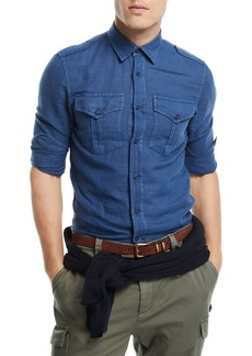 Brunello Cucinelli Linen-Blend Double-Pocket Denim Shirt