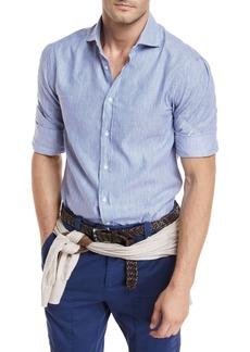 Brunello Cucinelli Linen-Blend Striped Sport Shirt