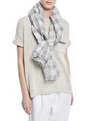 Brunello Cucinelli Linen Cotton Plaid Scarf