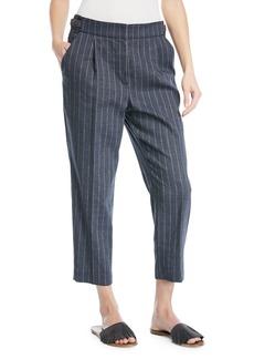 Brunello Cucinelli Linen Pinstripe Straight-Leg Pants with Monili Tab