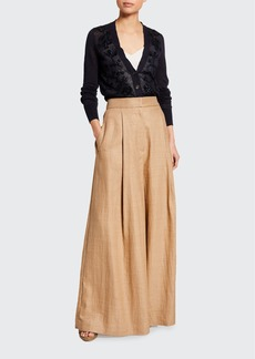 Brunello Cucinelli Linen Skirt-Leg Pants
