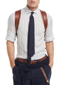 Brunello Cucinelli Linen Tonal-Striped Sport Shirt