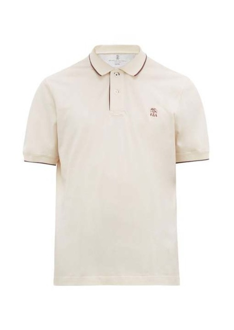 Brunello Cucinelli Logo-embroidered cotton-jersey polo shirt