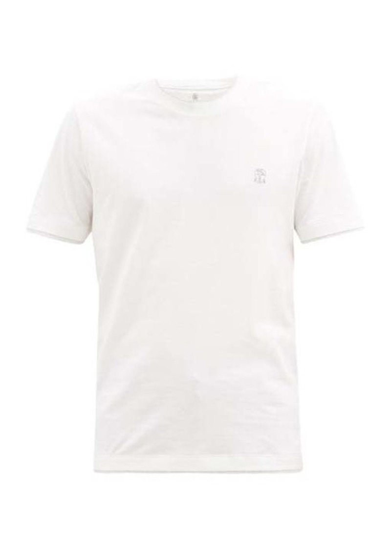 Brunello Cucinelli Logo-embroidered cotton-jersey T-shirt