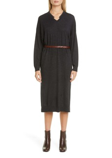 Brunello Cucinelli Long Sleeve Belted Wool & Cashmere Midi Sweater Dress