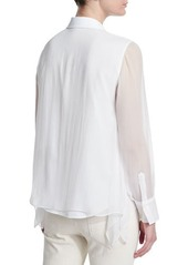 Brunello Cucinelli Long-Sleeve Button-Front Blouse