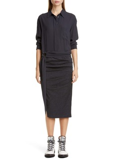 Brunello Cucinelli Long Sleeve Ruched Shirtdress