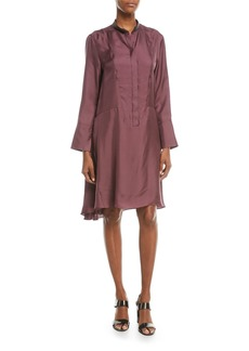 Brunello Cucinelli Long-Sleeve Silk A-Line Dress w/ Monili Mandarin Collar