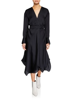 Brunello Cucinelli Long-Sleeve Silk Handkerchief Dress