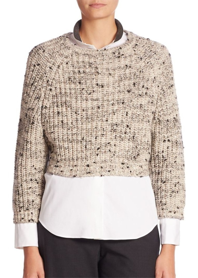 Brunello Cucinelli Long Sleeve Cropped Sweater