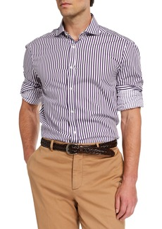 Brunello Cucinelli Men's Basic-Fit Bengal Striped Sport Shirt