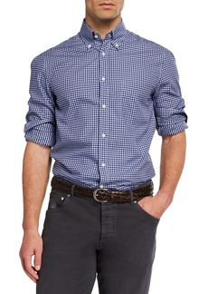 Brunello Cucinelli Men's Basic-Fit Check Sport Shirt