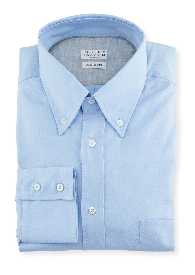 Brunello Cucinelli Men's Basic Fit Solid Oxford Sport Shirt