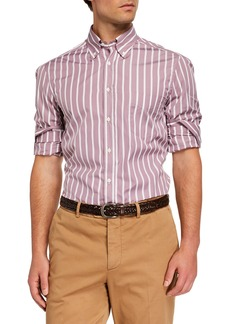 Brunello Cucinelli Men's Basic-Fit Striped Sport Shirt  Dusty Pink