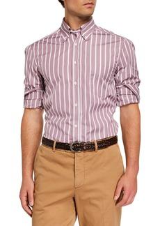 Brunello Cucinelli Men's Basic-Fit Striped Sport Shirt  Dusty Pink