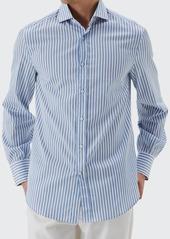 Brunello Cucinelli Men's Bengal Striped Sport Shirt