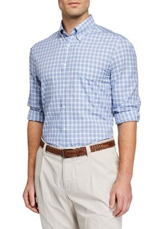 Brunello Cucinelli Men's Cotton-Twill Check Sport Shirt