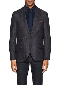 Brunello Cucinelli Men's Denim-Effect Wool Three-Button Sportcoat